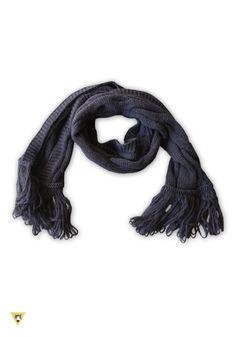 sciarpa in lana mohair con frange anni 60 nera