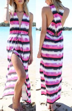 Looking for light,airy and stylish beach dresses? This beach dress with color block stripes in gradient pattern and plunging v neckline is definitely what you have been looking for.Shop the latest trends at OASAP!