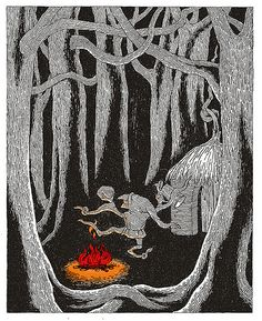 1992 Edward Gorey (American author/illustrator, ~ 'Edward Gorey Illustrates Little Red Riding Hood and Other Classic Children's Stories' - Rumpelstiltskin Roger Duvoisin, Rumpelstiltskin, Art Vintage, Dragons, Children's Book Illustration, Food Illustrations, Red Riding Hood, Little Red, Dark Art