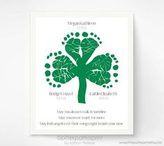 St Patricks Day Baby Footprint Shamrock, Irish Blessing for Baby, Personalized Triplet, Sibling Art Print, Green St Patricks Day Decoration St Patricks Day Crafts For Kids, St Patrick's Day Crafts, Daycare Crafts, Baby Crafts, Toddler Crafts, Holiday Crafts, Preschool Projects, Kid Projects, Preschool Ideas