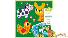 """Újabb különleges technikával egészült ki a Djeco kicsiknek készített kreatív játékcsaládja. Ebben a csodaszép készletben a színes gyurmák és az állatok kapták a főszerepet. A kedves állatokat a gyermekek gyurma segítségével dekorálhatják. Az alapon szereplő állatokon jól látható """"foltokat"""" kell a gyermeknek kiegészítenie gyurmával. Így teljesednek ki a képek, így lesznek pöttyei a katicabogárnak, vagy tollai a kakasnak. Techno, Products, Play Dough, Techno Music, Gadget"""