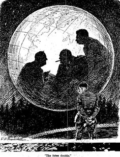 'The Fates Decide' published by Punch magazine in 1943 Punch Magazine, Weird Drawings, Dream Party, Political Cartoons, World War Two, Wwii, Sketches, Artwork, Fotografia