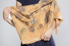 Acid dye and the colors of leaves on silk - one of a kind scarf