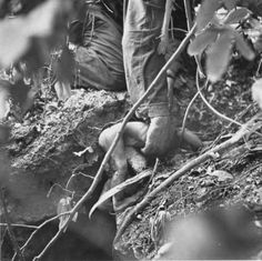 The hand of an US Marine was discreetly photographed as he lifted the barely living body a tiny infant from a hole. A group of native islanders had been hiding to escape the battle between the Americans and Japanese forces as they fought for control of Saipan.