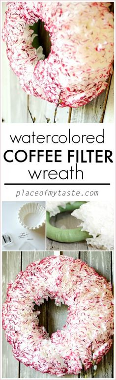 Watercolored coffee FILTER wreath-placeofmytaste.com