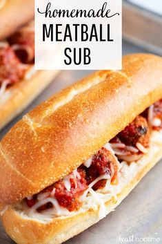 EASY Baked Meatball Sub Recipe – I Heart Naptime EASY Meatball Sub Recipe – Best easy dinner idea that comes together in just 20 minutes! These homemade meatball subs are toasty, cheesy and downright delicious. Italian Recipes, Crockpot Recipes, Cooking Recipes, Easy Dinner Recipes, Easy Meals, Good Recipes, Fast Easy Dinner, Healthy Recipes, Easy Baked Meatballs