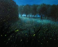 An oil painting on canvas of a Night Scene with fireflies and forest meadow shining in bright blue by the moon light, creating a fairy tale feeling about the landscape. Stock Photo