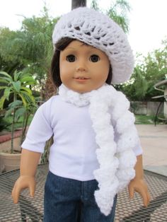 White Polar Bear Hat with Hand Pockets fits American Girl Dolls scarf gloves