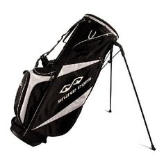 Snake Eyes Stand Bag - This stylish stand bag has a 5 way top divider and is made from special Snake Eyes lightweight black cloth and fittings giving it a weight without clubs of under 1.8kgs.