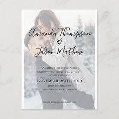 Faux Vellum Effect Photo Wedding Invitation - tap/click to personalize and buy #vellum #effect #photo #cards #handwritin Postcard Wedding Invitation, Classic Wedding Invitations, Wedding Invitation Design, Wedding Stationery, Wedding Envelopes, Script, Baby Prediction Cards, Birthday Chalkboard, Zazzle Invitations