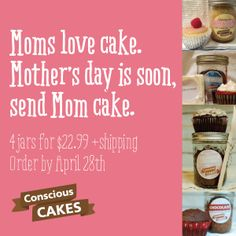 Send Mom some cake! Order by April 28th to make sure she gets it by Mother's Day! #vegan #glutenfree