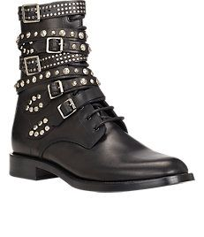 Studded-Strap Lace-Up Boots