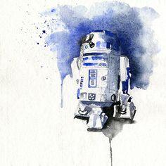 """""""Bidibidip"""", watercolour R2D2 - by Clementine Campardou"""