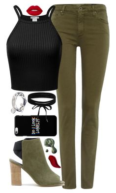 """""""Untitled #311"""" by anna-nedelcheva ❤ liked on Polyvore featuring AG Adriano Goldschmied, Boohoo, Sole Society, Lizzy James, Lime Crime, Illamasqua and Kat Von D"""