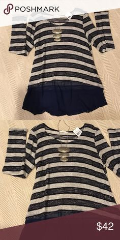 Lush Top: NWT Lush striped top with sheer bottom. NWT size Large. Navy & Grey. So soft! Lush Tops