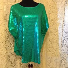 Diane Gilman  sequin top  ((just lowered)) New.    DG2. By Diane Gilman.  Poncho style sequin top. Green. DG2 Tops