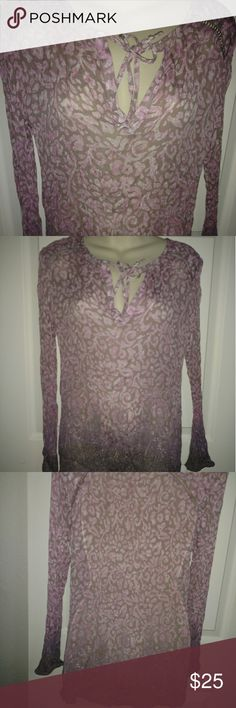 Lucky brand ombre sheer textured blouse Great condition. Split neck with tie. Sheer blouse. Unlined. Shoulder cut out detailing. 100% rayon Lucky Brand Tops Blouses
