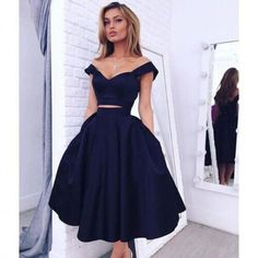 Navy Blue Party Dresses Off The Shoulder Sexy Two Piece Prom Dress Tea_length Graduation Dress Cheap
