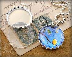 10 Princess Style Pendant Trays with GLASS by SunAndMoonCraftKits, $14.00