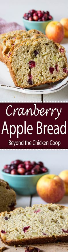 Cranberry Apple Bread made with fresh cranberries and chunks of apples.