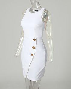 Vestido Bodycon sem mangas abotoado sólido