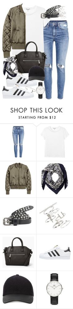 """Outfit with Adidas sneakers and a bomber jacket"" by ferned ❤ liked on Polyvore featuring H&M, Monki, Valentino, Maison Scotch, Topshop, MANGO, adidas Originals, Canali, Daniel Wellington and women's clothing"