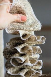 Pretty Burlap Garland Tutorial, This would be super cute over a fireplace during thanksgiving and halloween or even on a christmas tree for the holidays!
