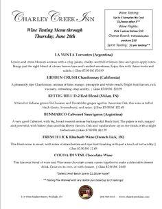 Wine Shoppe Tasting Menu through June 26th