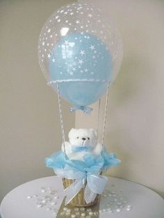 Baby boy baptism centerpieces teddy bears Ideas for 2019 Boy Baptism Centerpieces, Hot Air Balloon Centerpieces, Baby Shower Table Decorations, Hot Air Balloons, Fiesta Baby Shower, Baby Shower Parties, Baby Shower Themes, Shower Ideas, Teddy Bear Baby Shower