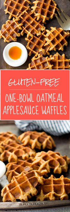 Healthy gluten-free One Bowl Oatmeal Applesauce Waffles. So easy you can make them on weekdays! Freezer-friendly, too. | www.kiwiandbean.com