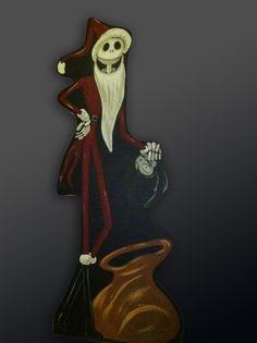 Santa Jack Skellington Halloween and Christmas wood cutouts www.holidaylawncharacters.com