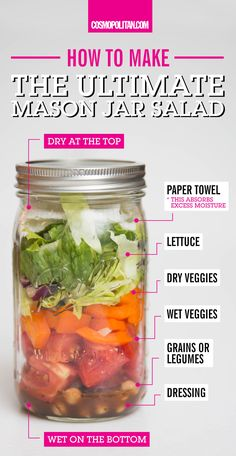 MASON JAR SALAD IDEAS: Easily and quickly pack a healthy salad for lunch with this brilliant mason jar salad hack. Pro tip: pour salad dressing *first* to keep everything else crisp, and layer a paper towel on top of lettuce to absorb extra moisture. Click through for more brilliant healthy lunch ideas and hacks — you'll be sOoOo motivated to make healthy eating a priority this new year!