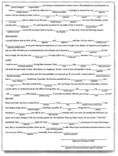Birth Plan Worksheet Page   Free Printable Coloring Pages