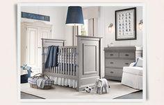 love the grey furniture + navy--i'd add orange. | Restoration Hardware Baby & Child
