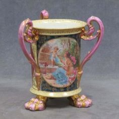 Lot: ROYAL VIENNA TRANSFER AND GILT DECORATED VASE, Lot Number: 0316, Starting Bid: $35, Auctioneer: William J. Jenack Auctioneers, Auction: FINE ART, ANTIQUES, CAMERAS & ANCIENT COINS, Date: August 10th, 2014 CDT