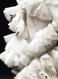 alexander mcqueen autumn/winter 2006-2007. I do like white. How imaginative all these flounces with  delicate moth(?).