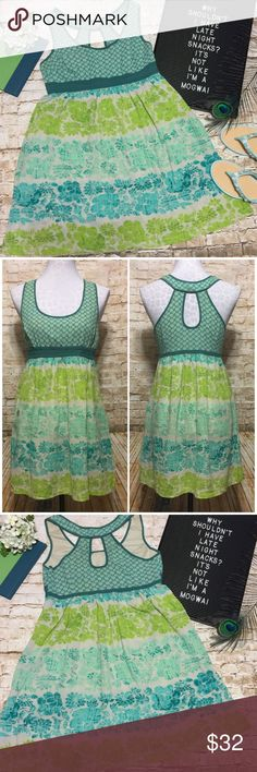 """Urban Outfitters Sleeveless Babydoll Dress Adorable Sleeveless dress by Ecote. Greige background w/ teal, turquoise & green ombré Floral pattern on skirt & teal pattern on bodice. Fitted bodice & flowy skirt. Lightweight, perfect for spring/summer. Tagged a medium but like many UO brands doesn't run true to size, fits like a small ... but please check measurements to ensure good fit. Excellent condition, no flaws. And it has pockets!  Measurements lying flat: •Bust: 17"""" across armpit to…"""