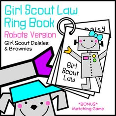 Daisies and Brownies learn and practice the Girl Scout Law with this appealing robots-themed ring book. Girls may complete the book one or two pages at a time or the entire 12-page book at once. Girls use the books to help them recite the Law at the beginning of troop meetings or