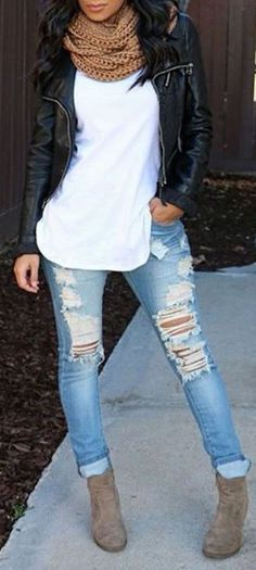 #fall #outfits / chunky knit jacket + ripped denim