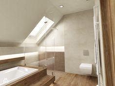 DOM Z KOMINKIEM - Średnia łazienka na poddaszu w domu jednorodzinnym z oknem, styl nowoczesny - zdjęcie od Insidelab
