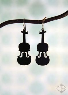 Violin Fiddle silhouette earrings in black by FableAndFury on Etsy, $19.00