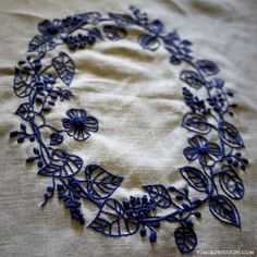 flower lease embroidery by yumiko higuchi