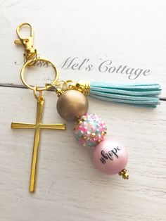 Hope/Gold Cross and Chunky Beads Tassel Keychain/Zipper Bag Charm/Hope in Christ/Loss/Sympathy/Gift/purse/planner charm/backpack/cross/Jesus Tassel Keychain, Diy Keychain, Handmade Keychains, Diy Tassel, Tassels, Chunky Beads, Sympathy Gifts, Zipper Bags, How To Make Beads