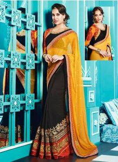 Yellow And Black Zari Work Designer Saree