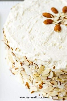 Almond Cake Recipes From Scratch.Almond Cream Cake {Homemade Cake With Whipped Frosting}. How To Make White Almond Wedding Cake Dessert Recipes . Just Desserts, Delicious Desserts, Dessert Recipes, Easter Desserts, Baking Recipes, Almond Cream Cake Recipe, Homemade White Cakes, Whipped Frosting, Biscuits