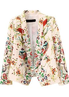 Beige Lapel Long Sleeve Floral Crop Blazer