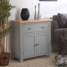 Richmond Grey Painted Sideboard x x cm Solid Oak Top, Adjustable Shelf Grey Painted Furniture, Painting Wooden Furniture, Hall Furniture, Sideboard Furniture, Solid Wood Furniture, Solid Wood Sideboard, Painted Sideboard, Small Sideboard, Oak Sideboard