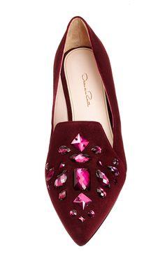 Hilery Loafer In Bordeaux Crystal by Oscar de la Renta for Preorder on Moda Operandi