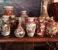 Antique miniature Satsuma vases