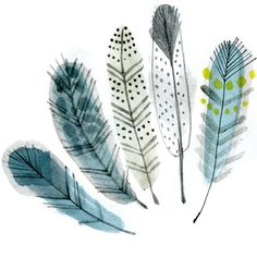 feathers - In my Backyard: Watercolor Feather, Feather Art, Watercolor And Ink, Watercolour Painting, Watercolor Flowers, Painting & Drawing, Feather Illustration, Illustration Art, Watercolor Techniques